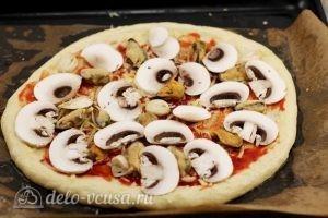 Пицца с мидиями: Добавить грибы