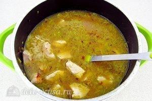 Куриный суп с рисом и сыром: Варим 5 минут