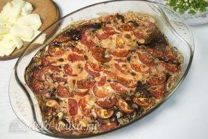 Запеченная свиная печень: Посыпать сыром и зеленью