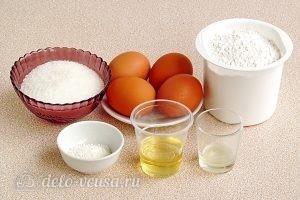 Простой бисквитный корж для торта: Ингредиенты
