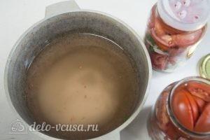 Маринованные помидоры дольками: Добавить воду
