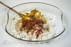Рис с куриными ножками в духовке: Рис соединить со специями