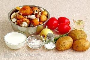 Сыроежки, тушенные с овощами в сметанном соусе: Ингредиенты