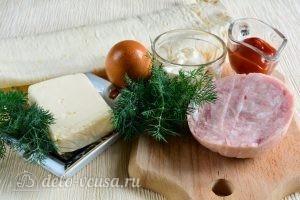 Рулет из лаваша с ветчиной и плавленым сыром: Ингредиенты