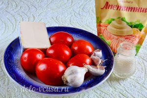 Помидоры фаршированные сыром и чесноком: Ингредиенты