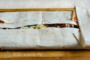 Рулет из лаваша с ветчиной и плавленым сыром: Закрыть лаваш