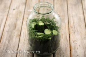 Соленые огурцы с водкой: Кладем слой огурцов