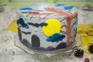 Тыквенный торт с творожным кремом: Украшаем торт