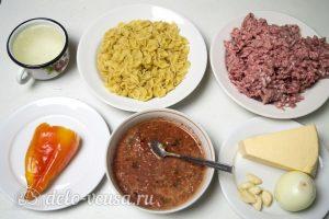 Запеканка из макарон с фаршем и сыром: Ингредиенты
