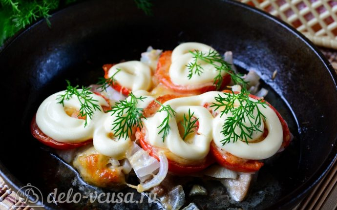 Мясо по-французски из свинины с помидорами