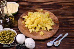 Салат Собачка с печенью: Картошку порезать