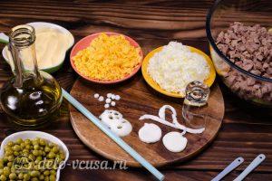 Салат Собачка с печенью: Яйца разделить на белки и желтки