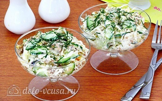 Салат из консервированной рыбы с огурцом