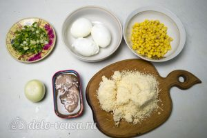Салат с печенью трески и кукурузой: Ингредиенты