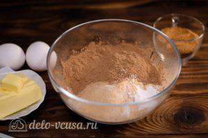 Брауни с кэробом: Соединить сухие ингредиенты