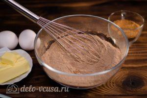 Брауни с кэробом: Перемешать сухие ингредиенты
