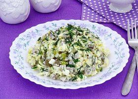 Салат с говяжьей печенью и огурцами