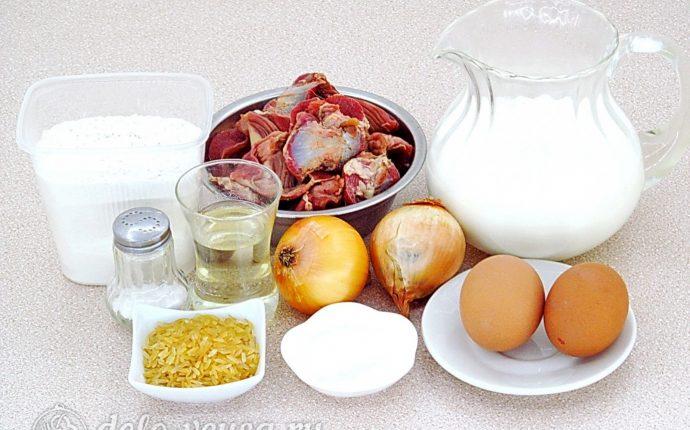 Блинчики с куриными желудками и рисом: Ингредиенты