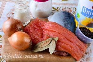 Соленая горбуша в масле с луком: Ингредиенты