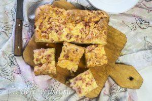 Пирог с ветчиной и сыром готов