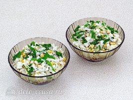Рыбный салат с рисом готов
