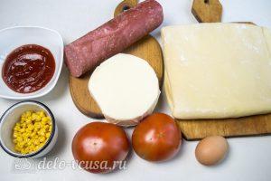 Слоеные улитки с колбасой и сыром: Ингредиенты