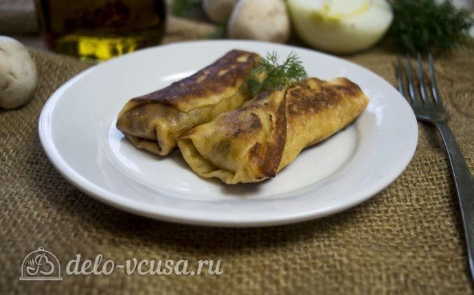 Блины с грибами и мясом: фото блюда приготовленного по данному рецепту