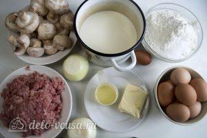 Блины с грибами и мясом: Ингредиенты