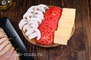Мясо Гармошка: Подготовить овощи и сыр