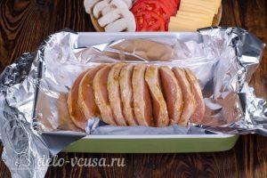 Мясо Гармошка: Кладем мясо на фольгу