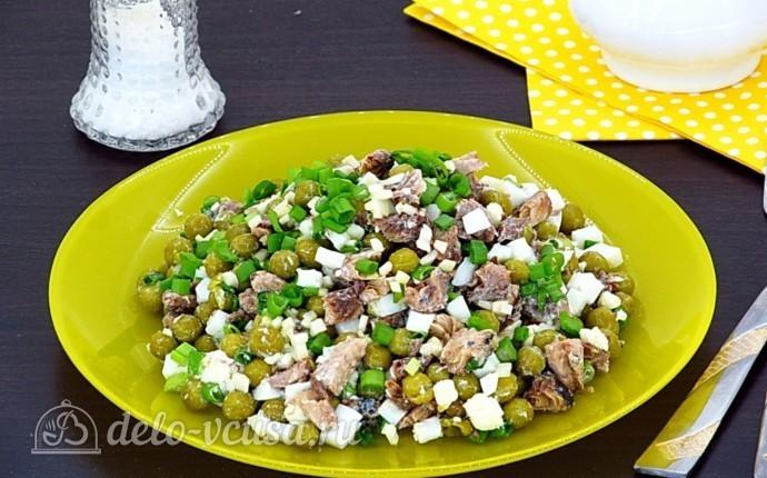 Рецепт салат из рыбной консервы с горошком