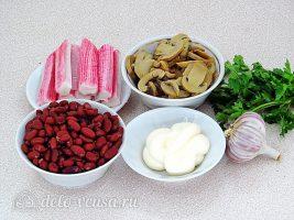 Крабовый салат с фасолью и грибами: Ингредиенты