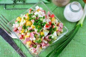 Крабовый салат с колбасой готов