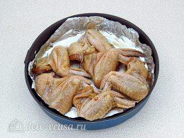 Крылышки гриль в соевом соусе: Выложить в форму