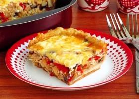 Пирог с баклажанами и куриным мясом