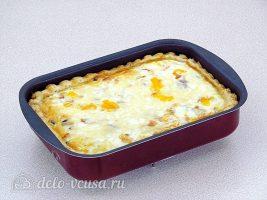 Пирог с баклажанами и куриным мясом: Поставить в духовку