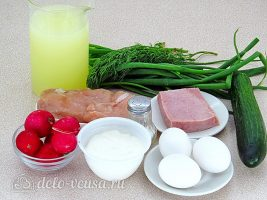 Окрошка на сыворотке: Ингредиенты