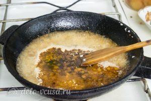Спагетти с креветками в сливочном соусе: Добавить вино к овощам