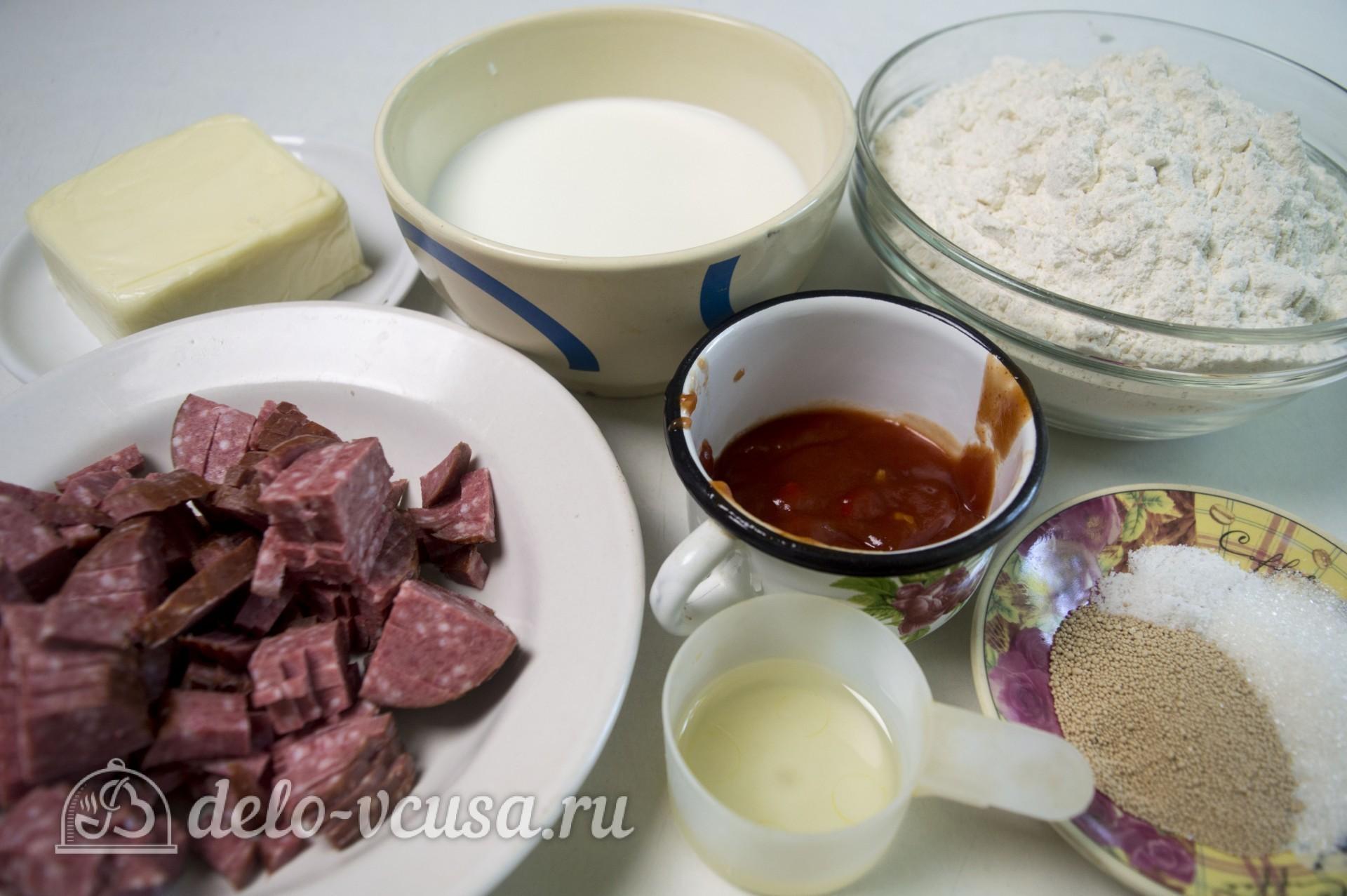 Рулет из теста с колбасой и сыром: Ингредиенты