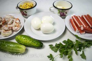 Салат с креветками и крабовыми палочками: Ингредиенты