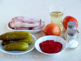 Салат с кальмарами и солеными огурцами: Ингредиенты