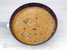 Классический рецепт бефстроганов:Перемешать соус и тушить