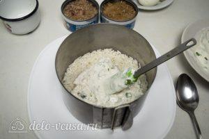 Салат Капля воды: Выложить рис