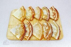 Блинчики Креп Сюзетт с апельсиновым соусом: Сложить блинчики