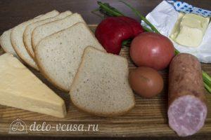 Горячие бутерброды с колбасой, сыром и болгарским перцем: Ингредиенты