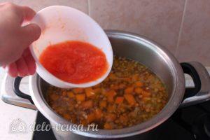 Суп-пюре из тыквы с чечевицей: Добавить помидор в суп