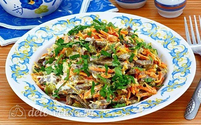 Рецепт салат из свиного сердца с солеными огурцами
