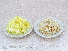 Салат из топинамбура с морковью и яблоком: Натереть яблоко и топинамбур