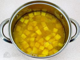 Тыквенный суп-пюре со сливками: Положить овощи в бульон