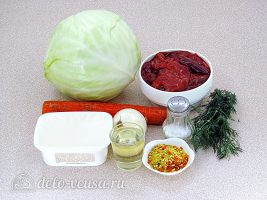 Тушеная капуста с куриной печенью: Ингредиенты